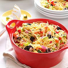 California Pasta Salad ~ Californians are fond of cookouts. This salad travels well to picnics, the beach or potluck suppers. Not only that—people love it when it gets there!