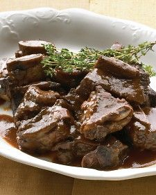 This recipe for delicious braised short ribs is from the October 2007 issue of Everyday Food. To make this dish a complete meal, serve it with creamy polenta with thyme.