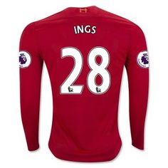 Liverpool FC Jersey 2016/17 Season Home LS Soccer Shirt #28 INGS [E380]