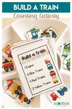 Build A Train Counting Activity Number Recipes Practice numbers and values with an engaging activity that train lovers will enjoy. Number recipes are a fun way to work on numbers and early literacy. Train Preschool Activities, Educational Activities For Toddlers, Homeschool Preschool Curriculum, Counting Activities, Preschool Learning, Kindergarten Activities, Early Learning, Toddler Learning, Toddler Fun
