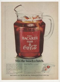 1975 Coke Coca Cola -Bacardi Pitcher -Original Magazine Ad Mix the Bunch a Batch Hires Root Beer, Cola Recipe, Cool Cube, Malibu Coconut, Coconut Rum, Bacardi Rum, Pop Ads, Vintage Coke, Soda Fountain