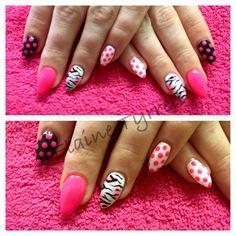Pink, fresh & fun short stiletto nails