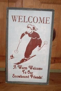 WELCOME-FRIENDS-Vintage-Ski-Sign-made-of-Wood-with-frame-50s-style-Free-Shipping