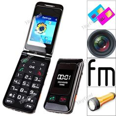 "http://www.tinydeal.com/it/flip-phones-c-54_706_708.html 2.2"" 2 SIM 4-Band GSM Unlocked SOS Elder's Mobile Phone Feature Phone w/ Camera Torch"