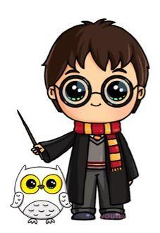 Harry Potter und Hedwig als Kawaii Harry Potter Tumblr, Arte Do Harry Potter, Harry Potter Cartoon, Cute Harry Potter, Harry Potter Drawings, Kawaii Disney, Disney Art, Kawaii Girl Drawings, Kawaii Art
