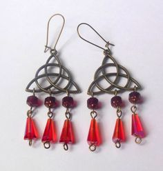 Bronze colour celtic knot, triquetra earrings with red beads. Wicca, Neopagan.