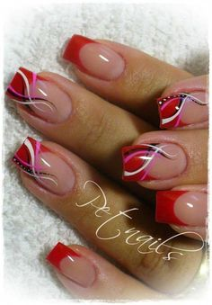 42 Beautiful French Nail Designs Ideas That Trending Now Idées Tendance Gel Ongles Ongles ? Nail Tip Designs, Fingernail Designs, French Nail Designs, Art Designs, Fancy Nails, Red Nails, Cute Nails, French Nail Art, French Tip Nails