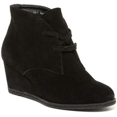 Dolce Vita Bravva Suede Bootie ($70) ❤ liked on Polyvore featuring shoes, boots, ankle booties, ankle boots, black sued, black ankle boots, lace up wedge bootie, black wedge boots, black suede booties and black wedge booties