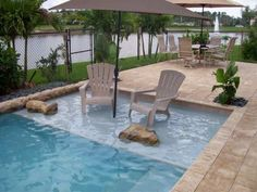 Chairs and umbrella in swimming pool