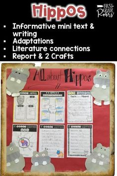This product offers a fun way to introduce hippos to your students.  Included you will receive:  Fact vs. Opinion Mini Booklet, copy two per page Adaptations  Writing Activities (Opinion, Informative, Fill in the Blank, Can, Have, & Are Chart) Mini Report Template -6 pages 2Hippo craft ideas Fiction Text Connection: Hippo-NOT-amus by Payne