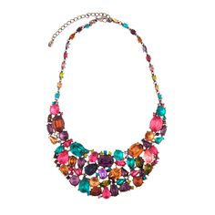 "A Gemstone Bib Necklace with serious multi-colored sparkle. 12"" long with rows of colored crystals."