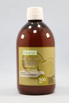 Aceite de Coco, Inkanat, 500 ml. Piel, Pelo y Uñas