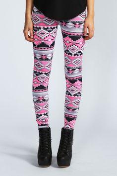 Ellise Pink Aztec Leggings $8.00 by boohoo.com