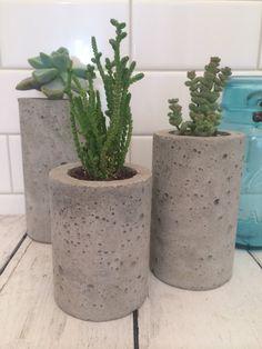 Concrete Succulent Planters. Urba Planters. (set of 3) Natural gray.  Enter…
