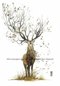 deer with beautiful antlers illustration Deer Drawing, Painting & Drawing, Watercolor Paintings, Painting Tattoo, Art And Illustration, Fantasy Kunst, Fantasy Art, Cervo Tattoo, Animal Drawings