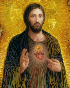 Sacred Heart of Jesus - on fire with love for you! Beautiful contemporary art by Smith Catholic Art.