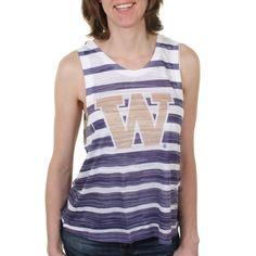 College Washington Huskies Women s Burnout Striped Tank Top Striped Tank Top 70e13b3fb