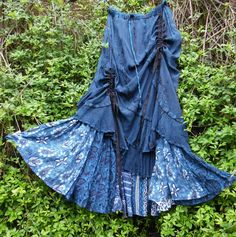 QUIRKY PATCHWORK BUSTLE HIPPY SKIRT FREE SIZE LAGENLOOK PEASANT GYPSY LARP