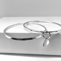 Alia – Silver Double Bangle and Disc Charm