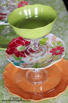Glue a bowl, 2 plates and 2 candlestick holders together….thrift shop finds?? @ DIY Home Cuteness