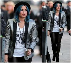 Demi Lovato - gun metal blazer, rocker tee, leather leggings, black boots; blue hair