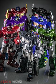 Transformers Masterpiece Optimus Prime (Year of the Horse), MP-10B Black Convoy, Shattered Glass Optimus Prime, MP-10 Convoy (EVA Mode), MP-10R Convoy (BAPE Red Camo Ver.), MP-10A Convoy (BAPE Ver.) and MP-10K Convoy (BAPE Black Camo Ver.)