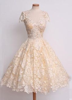 2018 evening gowns - Light yellow lace A-line V-neck cap sleeves evening dress, formal short dress for teens