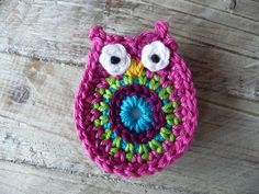 Owl old pink magnet by ATERGcrochet on Etsy