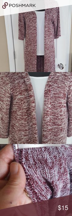 Super Soft LUXE Long Cardigan This cardigan will be perfect for those fall mornings! Red and white heathered fabric with 3/4 sleeves. Tag is missing, but fits like a small. Length is 36 inches from shoulder to hem. LUXE Sweaters