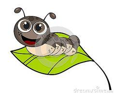 Cute smiling cartoon caterpillar on fresh green leaf  on white background