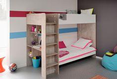 90x200 Kinder Etagenbett Weiß/Esche-Grau ohne Bettkasten Treppe Links