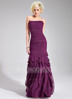 Trumpet/Mermaid Strapless Floor-Length Chiffon Evening Dress With Ruffle (017019556) - JJsHouse