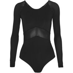 IVY PARK Mesh and stretch-jersey bodysuit ($80) ❤ liked on Polyvore featuring bodysuit, tops, body, ivy park, shirts, black, mesh jersey, stretch jersey, sport jerseys and sports jerseys