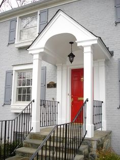 Classic White-Columned Portico and Wrought Iron Handrail - traditional - Entry - Dc Metro - Land Art Design, Inc.