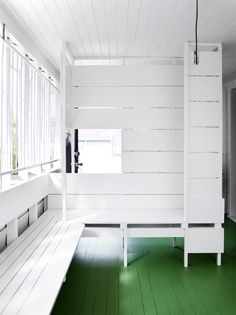 Paul Owen, Stuart Vokes and Aaron Peters of Owen and Vokes and Peters - The Design Files Corner Bench Seating, Cottage Renovation, Holland Park, Australian Architecture, Queenslander, The Design Files, Amazing Spaces, Painted Floors, Cool Rooms