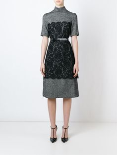 Dolce & Gabbana lace panel tweed dress