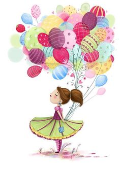 Ideas for birthday balloons pictures colour Balloon Illustration, Cute Illustration, Happy Birthday Images, Happy Birthday Cards, Girl Holding Balloons, Art Fantaisiste, Balloon Pictures, Art Mignon, Happy B Day
