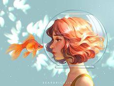 ArtStation - Tears of a goldfish, Karmen Loh Art And Illustration, Art Drawings Sketches, Cute Drawings, Pretty Art, Cute Art, Digital Art Girl, Anime Art Girl, Aesthetic Art, Portrait Art