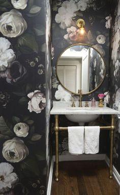 ♅ Dove Gray Home Decor ♅  Antique white roses on grey background wallpaper via cupcakes and cashmere. Designer: Ellie Cashman