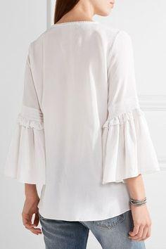 0bd16e69fd164 Figue - Poet Lace-up Silk-chiffon Blouse - White