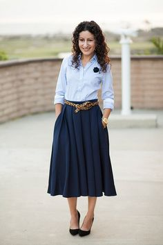 summer work outfit, curvy chic, forever 21 midi skirt, wearing a  ...