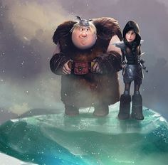 Heather and Fishlegs from Dreamworks Dragons Race to the Edge