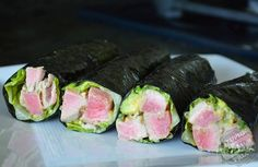 Tuna RollsFor the Dressing •Juice of 2 limes •Zest of 1 lime •2 teaspoons coconut aminos •2 teaspoons sesame oil (sub: olive oil) •2 teaspoons Hime All Natural Powdered Wasabi (or any other clean wasabi) •Salt and pepper to taste For the Salad •1 lb. ahi tuna steak •2 green onions, thinly sliced •1 avocado, diced •1 Tablespoon sesame seeds •Romaine or butter lettuce leaves •Nori wraps, optional