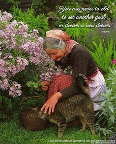 """""""You are never too old to set another goal or dream a new dream."""" -  C. S. Lewis (on the picture: Tasha Tudor, lover of animals)"""