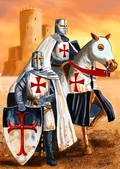 Templar crusader knights in the Holy Land