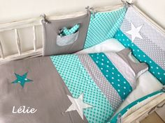 Tour de lit, 2 gigoteuses SUR COMMANDE / Menthe, gris, blanc et turquoise