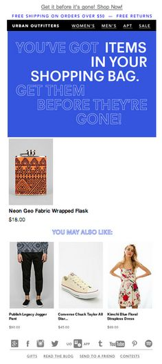 Urban Outfitters abandoned cart email 2014