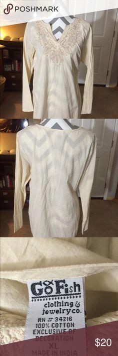 Go Fish Clothing boho top Go Fish boho top.  Size XL.    Cream color   NEVER WORN.  100% cotton GO FISH Tops Tunics