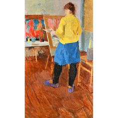 Russian school (20th century), artist at her easel, oil on canvas, indistinctly signed, unframed,... | Bellmans Auctioneers & Valuers