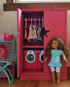 """For American Girl or 18"""" Doll, make a storage cabinet or armoire with star cutout. Free plans."""